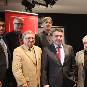 Serdar Yüksel, Stadtbaurat Dr. Kratzsch, Norbert Philipp (hintere Reihe), SPD Ratsherr Dieter Fleskes, Minister Michael Groschek, Bezirksvertreter Dieter Rakowski (vordere Reihe)